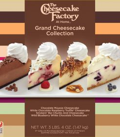 The Cheesecake Factory Grand collection of Cheesecakes; Chocolate Mouse, White Chocolate Rasberry Truffle, Snicker Bar Chunks & Wild Blueberry White Chocolate
