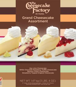 9 inch Grand Cheesecake factory assortment of Key Lime Cheesecake, White Chocolate Raspberry Truffle Cheesecake, Banana Cream Cheesecake & Strawberry Topped Original Cheesecake