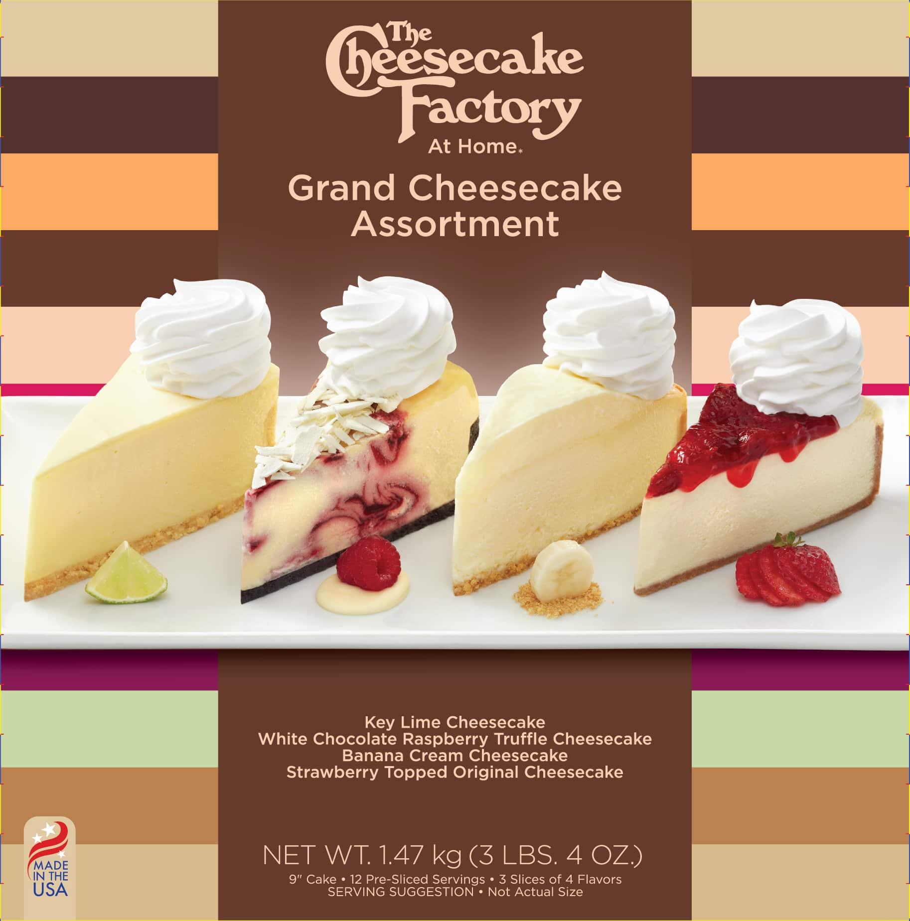 9 inch Grand Cheesecake factory assortment of Key Lime Cheesecake, White Chocolate Raspberry Truffle Cheesecake, Banana Cream Cheesecake & Strawberry Topped Original Cheesecake