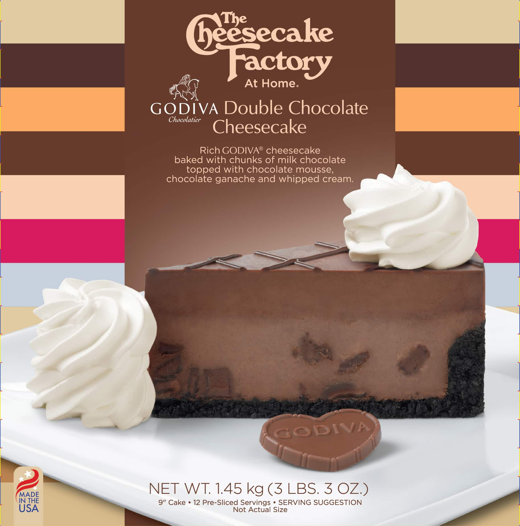 9 inch Godiva Double Chocolate Cheesecake from The Cheesecake Factory At Home Range for retail markets in UK & Europe